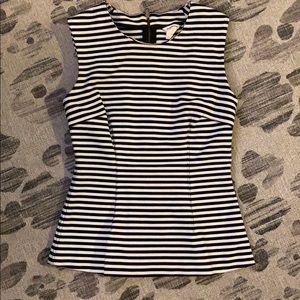 Club Monaco Sz S Black/White Striped Blouse